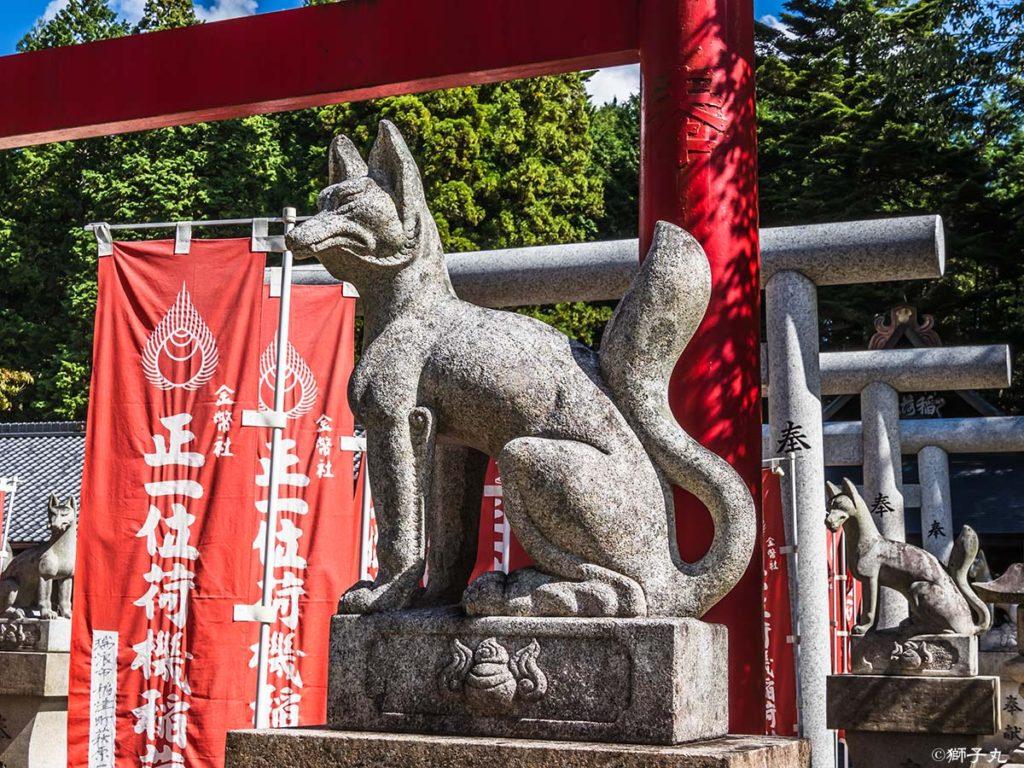 荷機稲荷神社 狛狐(稲穂)