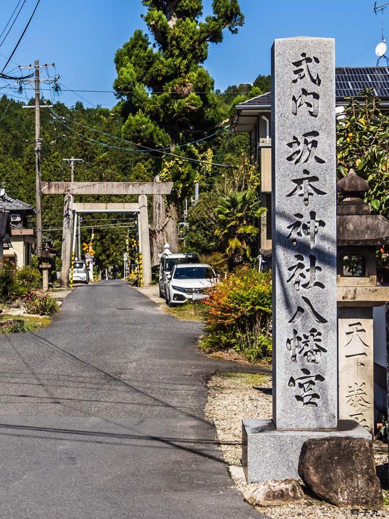坂本神社八幡宮 社号標と鳥居