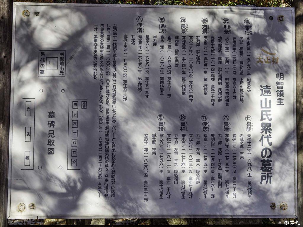 大明山 龍護寺 遠山氏累代の墓所 案内板